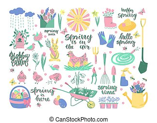 Spring set of elements with lettering. Easter, spring, garden. Vector illustration.