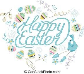 Spring set. Phrase Happy Easter