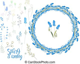 Spring set with eggs and blue primroses - muscari and ...