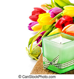 Spring setting with colorful tulips