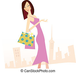 Spring shopping - Woman with shopping bags in town. High...