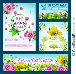 Spring shopping sale vector flowers templates