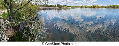 Spring Shoreline Panorama - A scenic Spring panoramic view ...