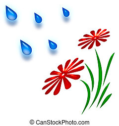 spring shower abstra - raindrops falling on red flowers...