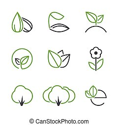 Spring simple vector icon set - seed, sprout, plant, leaf,...