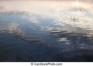Spring sky reflection in water of lake.