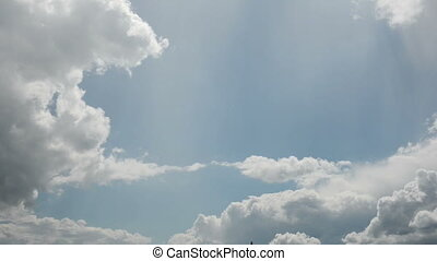 Spring sky with clouds and sun