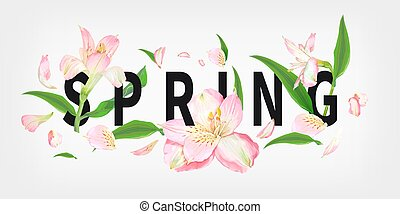 Spring slogan with flowers - Spring slogan with beautiful...