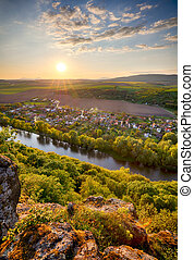 Spring Slovakia panorama landscape with river Hron.