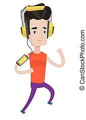 spring, smartphone., hörlurar, man