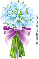 spring snowdrop flowers bouquet with pink ribbon isolated on...