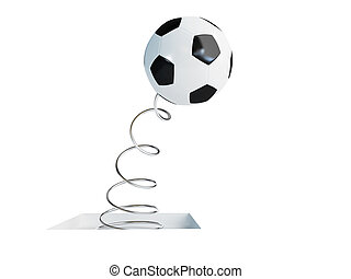 spring soccer ball 3d Illustrations on a white background