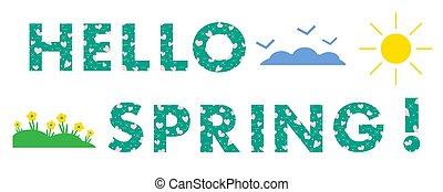spring., sol, clouds., flores, corações, olá