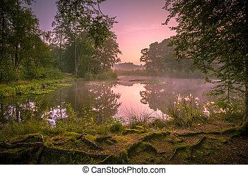 Spring source lake at sunrise