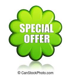 spring special offer green flower label