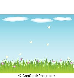 Spring background with grass and flowers.