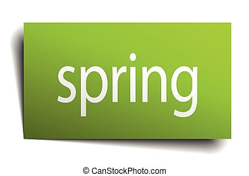 spring square paper sign isolated on white
