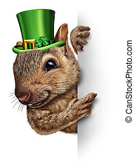 Spring squirrel banner concept as cute happy wildlife wearing a lucky green saint patricks day hat with four leaf clovers holding a blank sign as a festive holiday seasonal symbol.
