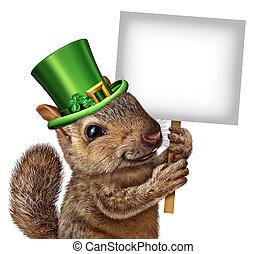 Spring Squirrel Sign - Spring squirrel sign concept as cute ...