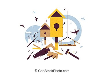 Spring starling sitting on wooden birdhouse vector illustration. Hammer and saw for tinkering flat style. Home for forest creatures concept. Isolated on white background