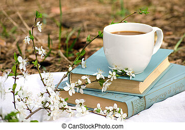 Spring still life with books and coffee