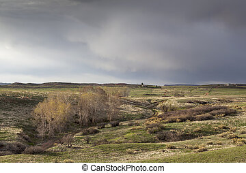 spring storm over Colorado ranch