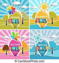 Spring - Summer - Autumn - Winter Sale. Four Seasons Vector Illustration.