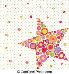 Spring summer colorful flower star shape greeting card on polka dot background