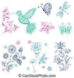 Spring & Summer Doodles - bird, butterflies, flowers - hand drawn - in vector