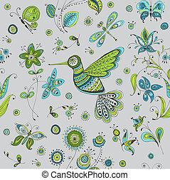 Spring & Summer Doodles - bird, butterflies, flowers - hand drawn - in vector
