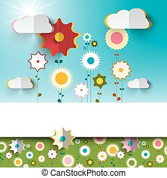 Spring - Summer Sunny Flowers on Garden - Field Paper Material Design with Blue Sky and Clouds