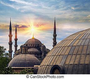 Spring sun dome and minaret of Hagia Sophia Istanbul, Turkey