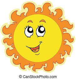 Spring Sun on white background - vector illustration.
