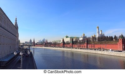 Spring sunny cloudless day panoramic shot of Moscow Kremlin, Russia. 4K video