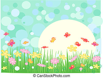 butterfly - Spring sunny landscape with flowers and ...