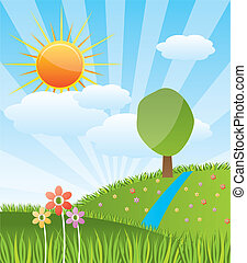 Spring sunny landscape with forest river - vector illustration