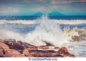 Spring sunny morning on the Mediteranian beach