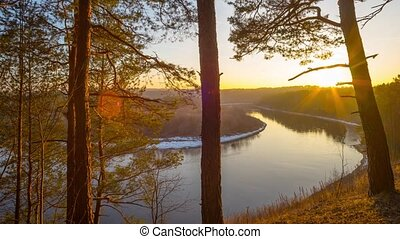 spring sunset on the river, panorama