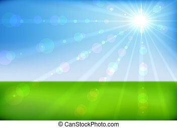 Spring sunshine horizontal background