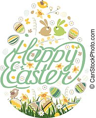 Spring symbol. Phrase Happy Easter. Painted eggs, grass, ...