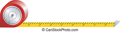 spring tape measure on a white background