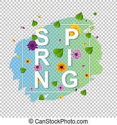 Spring Text With Leaf Transparent Background