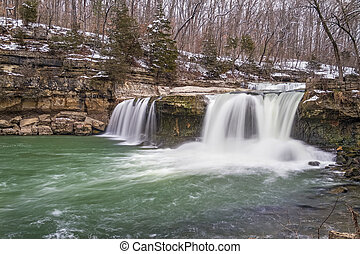 Spring Thaw at Upper Cataract Falls - Water spills over...