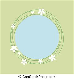 Spring theme circlular frame with floral design