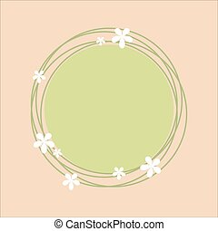 Spring theme circlular frame with floral design