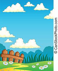 Spring theme landscape 4 - vector illustration.