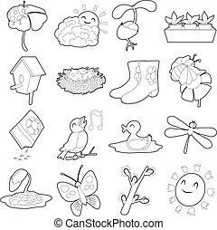 Spring things icons set, cartoon outline style