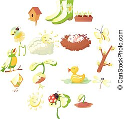Spring things icons set, cartoon style