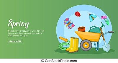 Spring time banner horizontal man, cartoon style