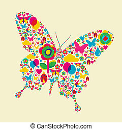 Happy spring time butterfly composition. Vector file available.